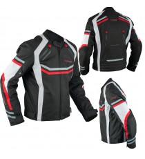 Giacca Moto Sportiva Tessuto Ventilata Riflettente Protezioni CE Rosso