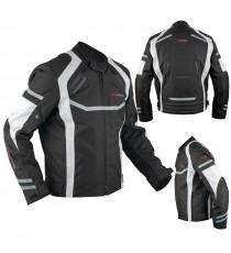 Giacca Moto Sportiva Tessuto Ventilata Riflettente Protezioni CE Bianco