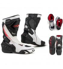 Stivali Moto Sport Racing Pista Strada Tecnico Microfibra Bianco