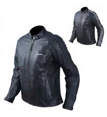 Giacca Pelle Donna Moto Protezioni CE Fodera Termica Removibile Bianco