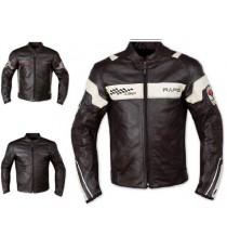 Giacca Pelle Foderata Moto Sport Naked Custom Protezioni CE Rinforzo Schiena