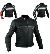Sport Giacca Pelle Moto Naked Custom Protezioni Omologate CE Rinforzo Schiena
