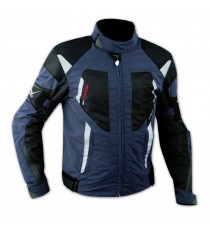 Giacca Moto Tessuto Cordura Mesh Rete Traforata Protezioni CE Omologate Blu