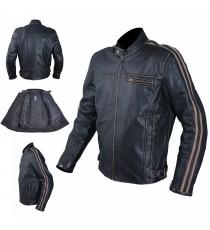 Giacca Pelle Vintage Moto Protezioni CE Regolabile Fodera Termica