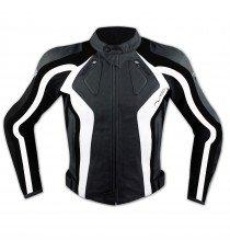 Giacca Donna Lady Moto Pelle Protezioni Omologate CE Rinforzo Schiena Bianco