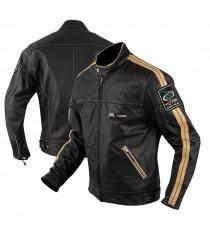 Giacca Pelle Moto Naked Custom Protezioni Omologate CE Rinforzo Schiena Bianco