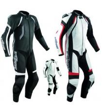 Tuta Pelle Pista Moto Protezioni CE Omologate Inserti Titanio Intera A-Pro