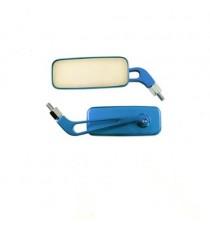 Coppia Specchietti Specchio Retrovisore Moto Naked Custom Metallo Blu DX+SX