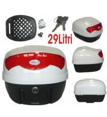 Bauletto Baule Moto Scooter 29 Litri Valigia Piastra Universale Bianco