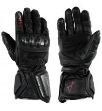 Guanto Sportivo Pista Moto Tecnico Protezioni Carbonio Professionale Pelle Nero