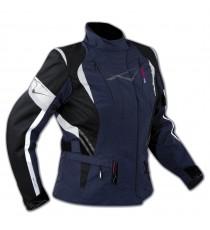 Lady Giacca Moto Donna Impermeabile Termica Sfoderabile Protezioni CE Blu