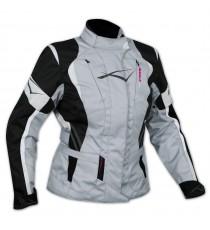 Lady Giacca Moto Donna Impermeabile Termica Sfoderabile Protezioni CE Grigio