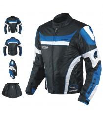 Giacca Moto Manica Staccabile Tessuto Protezioni CE Sfoderabile Gilet Blu