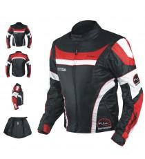 Giacca Moto Manica Staccabile Tessuto Protezioni CE Sfoderabile Gilet Rosso