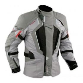 Giacca Touring Moto Cordura Tessuto Protezioni CE Impermeabile Grigio