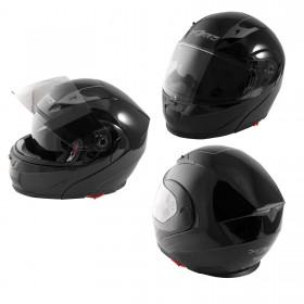 Casco Modulare Apribile Moto Touring Visiera Interna Parasole Nero Lucido