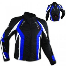 Giacca Cordura Tessuto Sportiva Traspirante Moto Termico Protezioni CE Blu