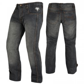 Jeans Pantaloni Moto Scooter Protezioni CE Omologate Rinforzo Fianchi Nero
