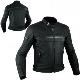Sport Giacca Pelle Moto Custom Protezioni Omologate CE Rinforzo Schiena Nero