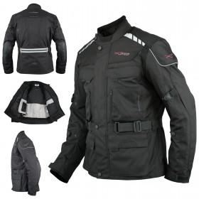 Giacca Impermeabile Moto Tessuto Protezioni CE Scooter Viaggio Nero
