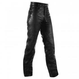 Pantaloni Pelle Jeans Classico 5 Tasche Moto Custom Chopper Vintage