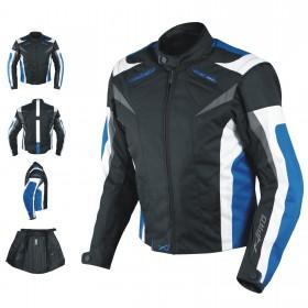 Giacca Tessuto Moto Protezioni CE Manica Staccabile Gilet Termico Removibile Blu