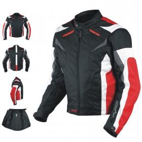 Giacca Tessuto Moto Protezioni CE Manica Staccabile Termico Removibile Rosso