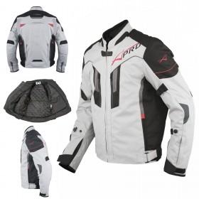 Giacca Moto Tessuto Sport Protezioni CE Riflettente Ventilata Grigio