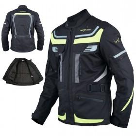 Giacca Moto Scooter Tessuto Protezioni CE Impermeabile Riflettente Fluo