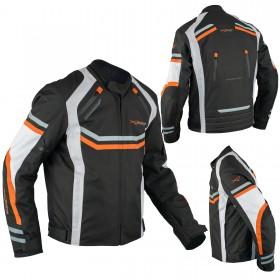 Giacca Moto Sportiva Tessuto Ventilata Riflettente Protezioni CE Arancione