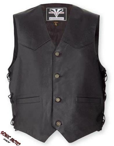 gilet motard moto style chopper custom cuir lacets boutons homme ebay. Black Bedroom Furniture Sets. Home Design Ideas