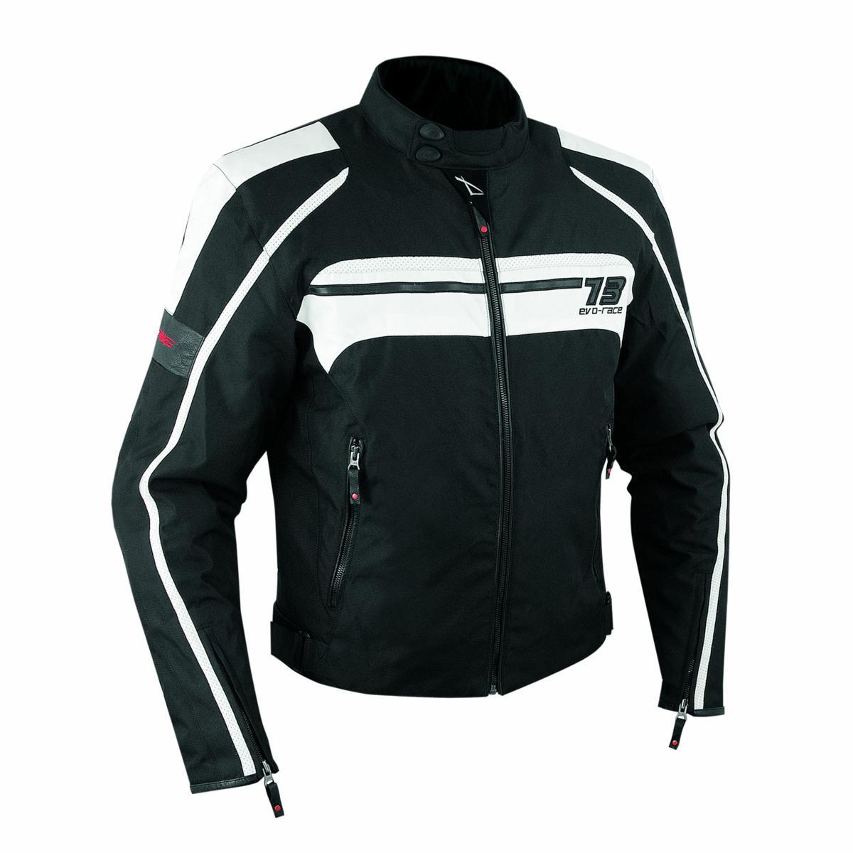 Giacca-Moto-Sport-Custom-Impermeabile-Sfoderabile-Tessuto-Inserti-Pelle-Bianco