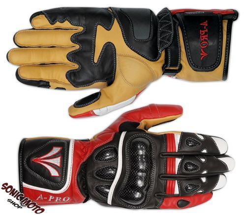 Guanto-Sportivo-Pista-Sport-Moto-Tecnico-Protezioni-Carbonio-Professionale-Pelle