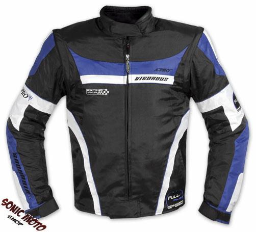 Giacca-Moto-Manica-Staccabile-Tessuto-Protezioni-CE-Sfoderabile-Gilet-Blu