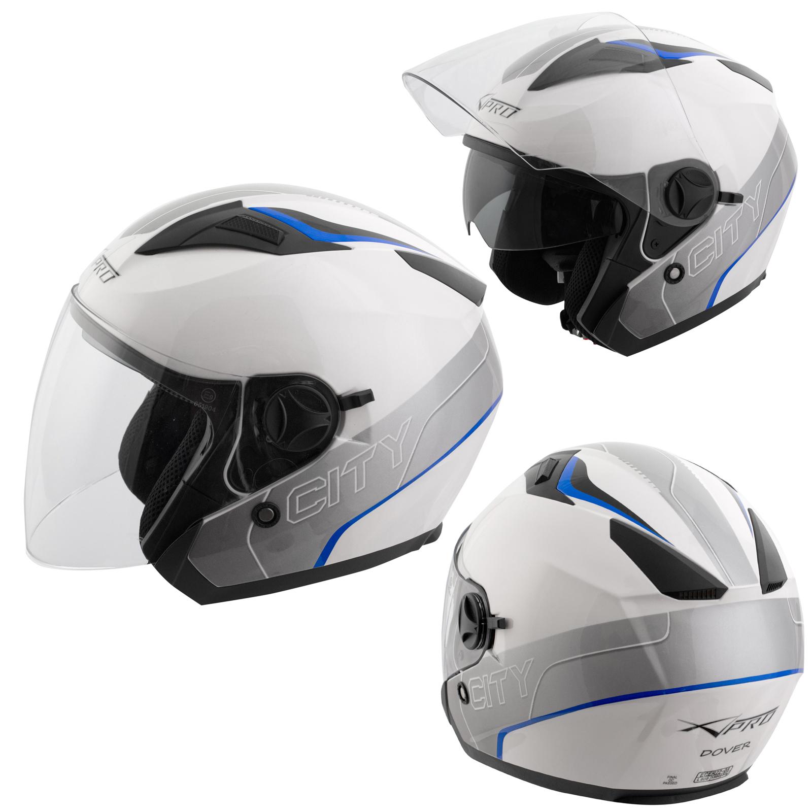 Demi-Jet-Casque-Visiere-Pare-Soleil-ECE-22-05-Approuve-Moto-Scooter-Bleu
