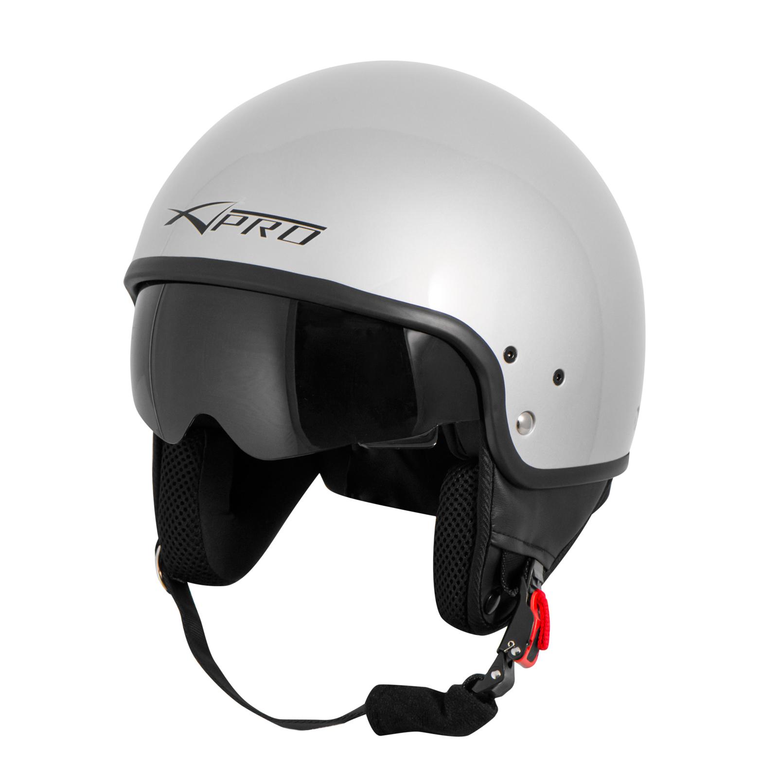 Casque-Moto-Scooter-Vespa-Jet-Visiere-pare-soleil-ECE-22-Blanc-SonicMoto miniature 18