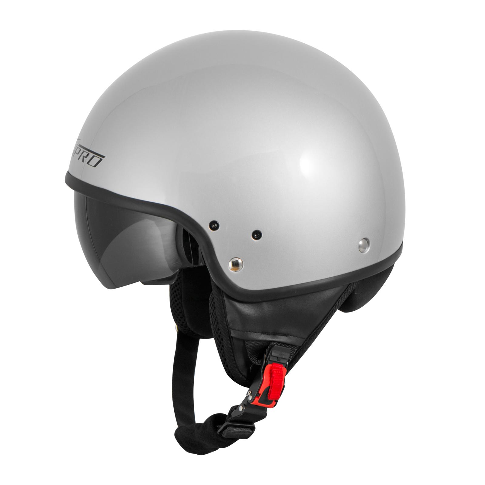 Casque-Moto-Scooter-Vespa-Jet-Visiere-pare-soleil-ECE-22-Blanc-SonicMoto miniature 19