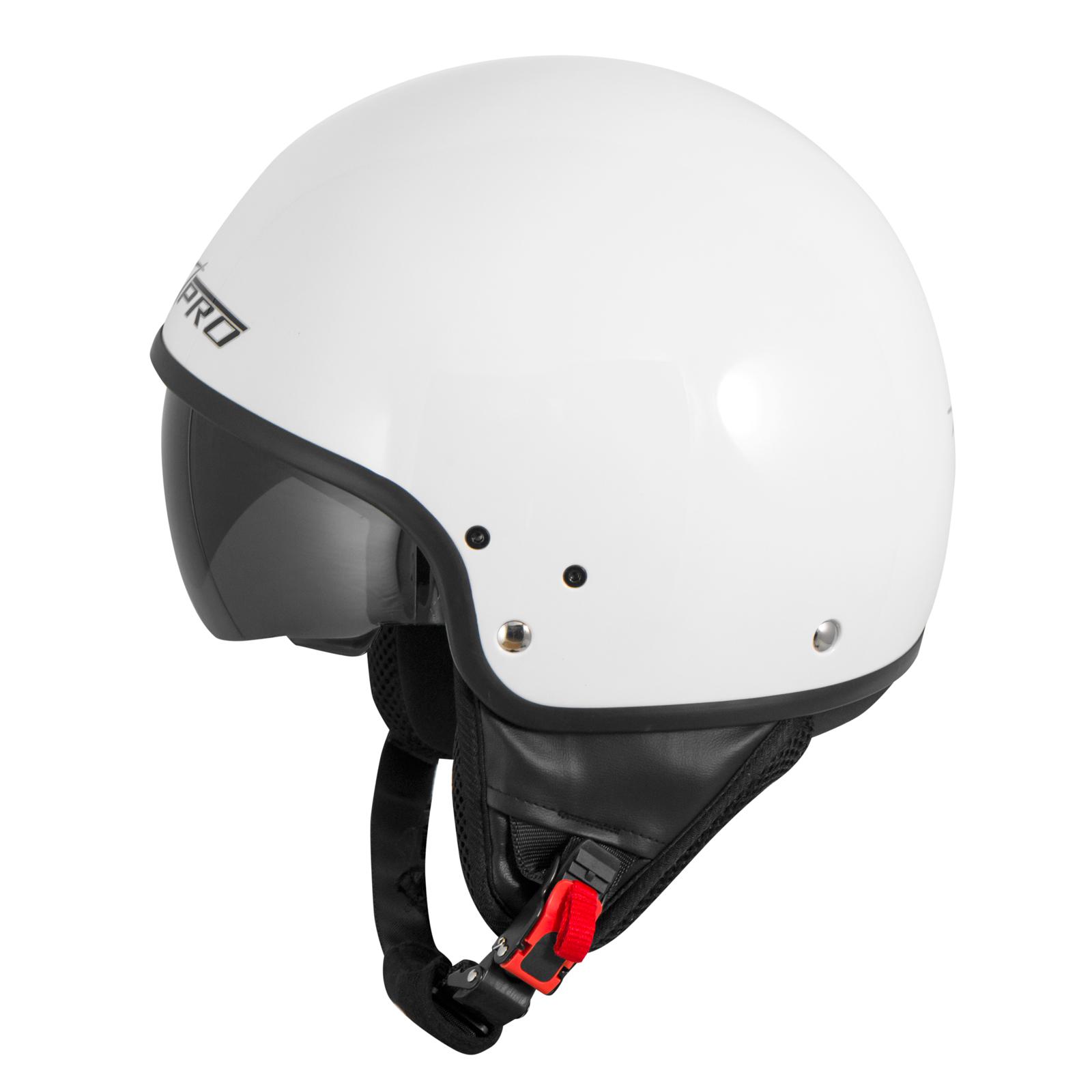Casque-Moto-Scooter-Vespa-Jet-Visiere-pare-soleil-ECE-22-Blanc-SonicMoto miniature 22