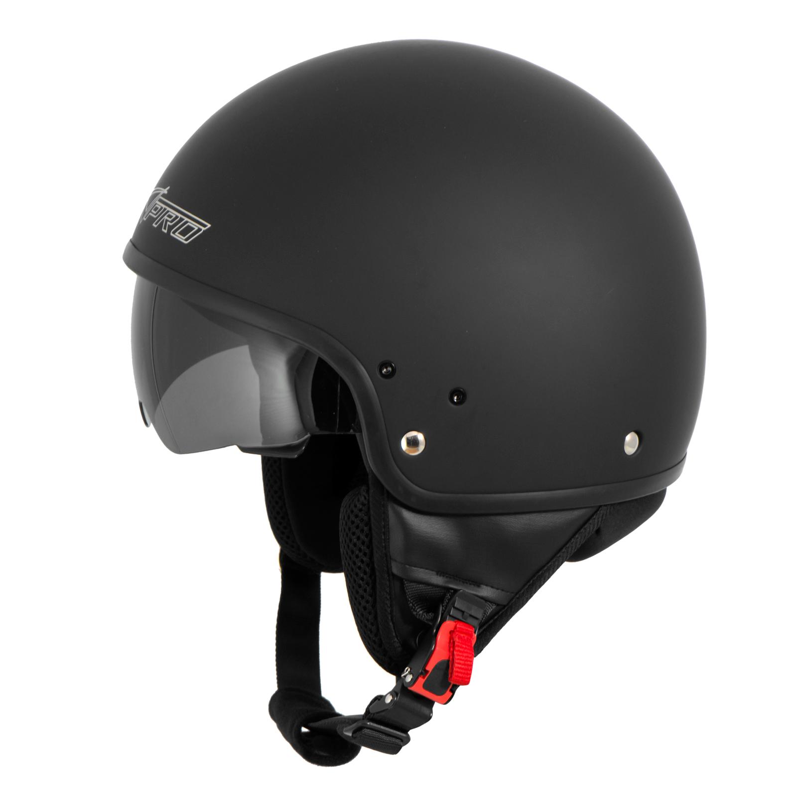 Casque-Moto-Scooter-Vespa-Jet-Visiere-pare-soleil-ECE-22-Blanc-SonicMoto miniature 9
