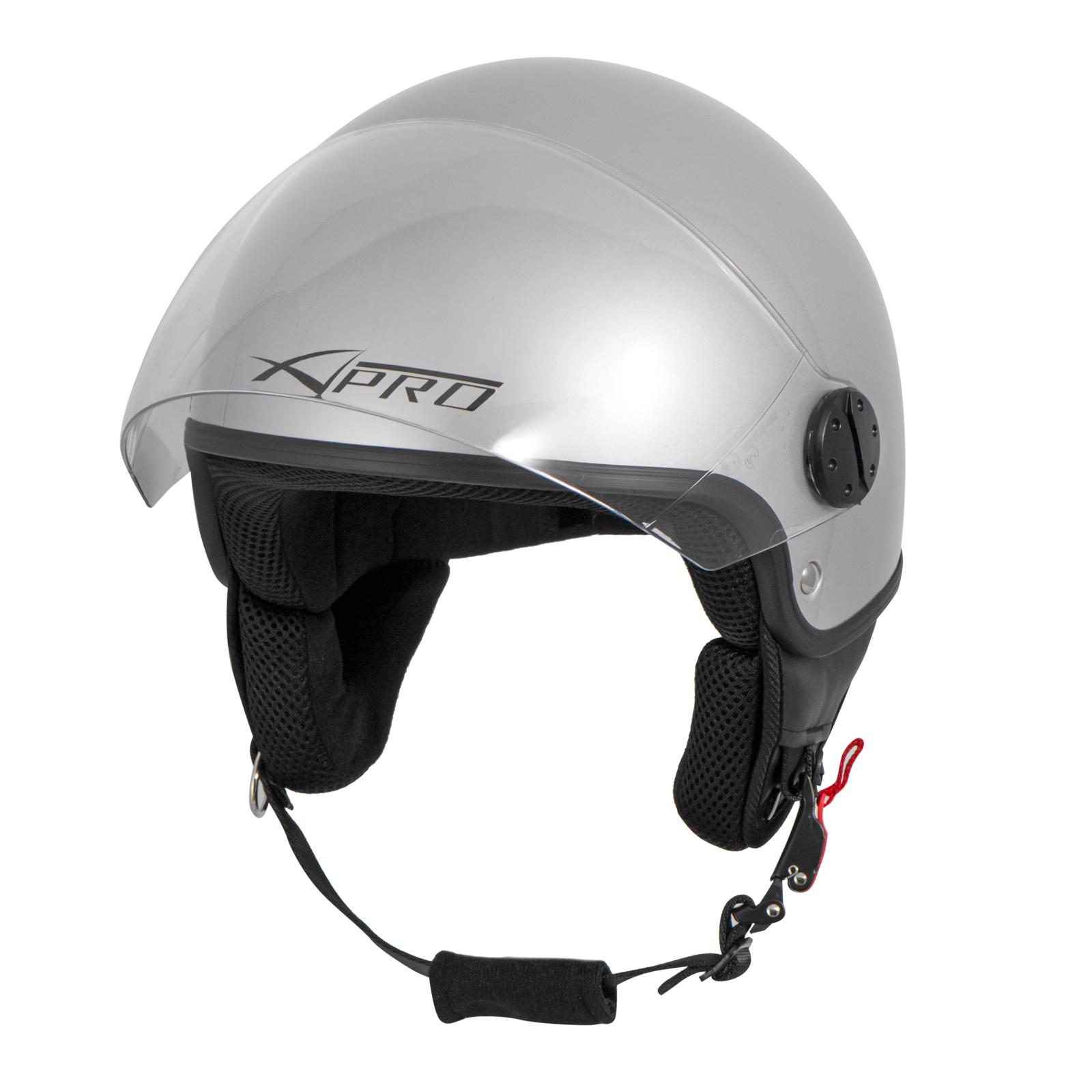 Casco-Jet-Demi-Scooter-Moto-Omologato-ECE-22-Visiera-Antigraffio-Argento