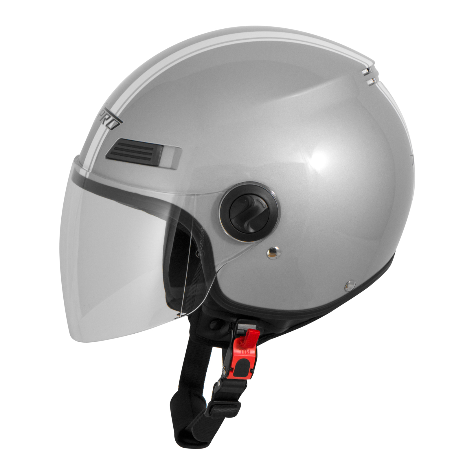casque avec moto scooter quad jet visiere ece 22 argent sonicmoto ebay. Black Bedroom Furniture Sets. Home Design Ideas