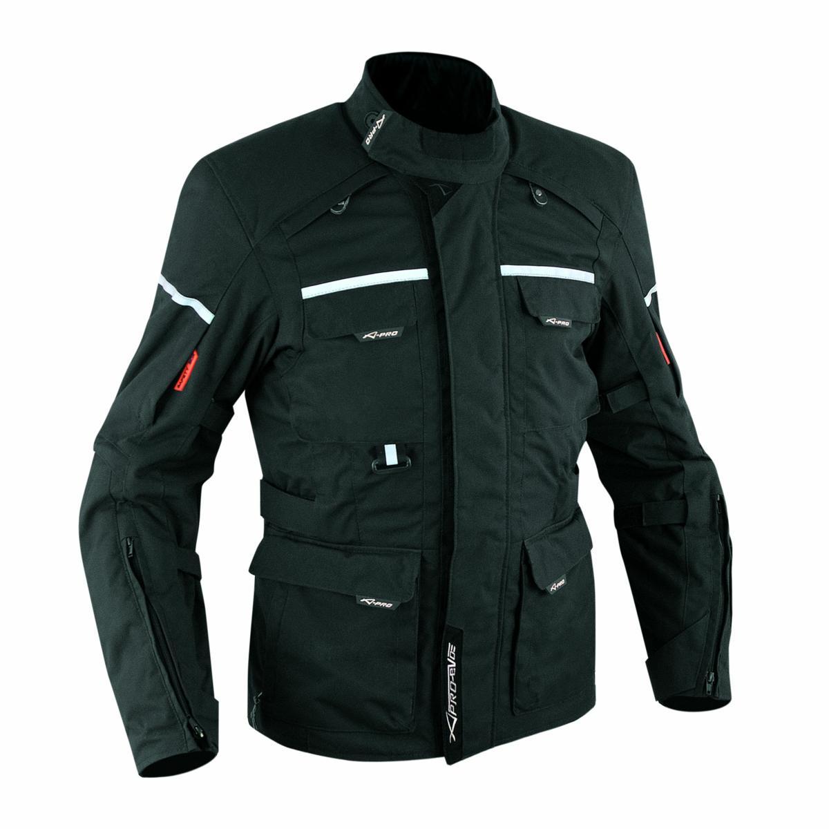 Tela-impermeable-chaqueta-de-la-Moto-extraible-acolchado-termico-Negro
