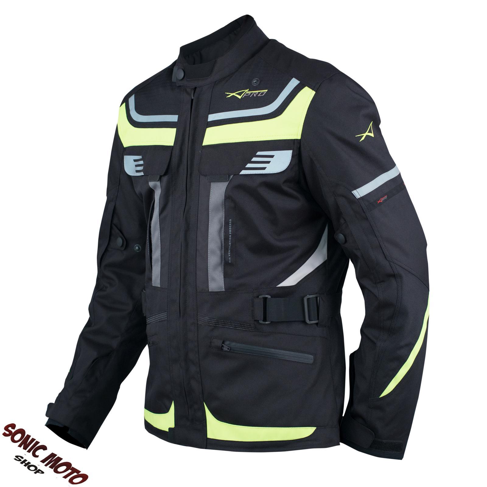 Giacca-Moto-Scooter-Tessuto-Protezioni-CE-Impermeabile-Riflettente-Fluo
