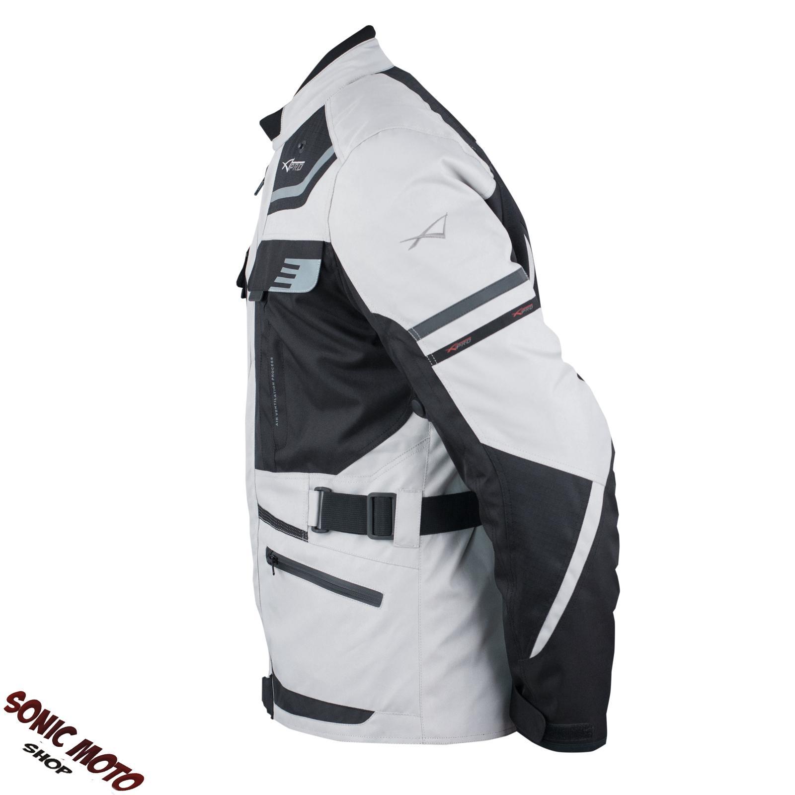 Giacca-Moto-Scooter-Tessuto-Protezioni-CE-Impermeabile-Riflettente