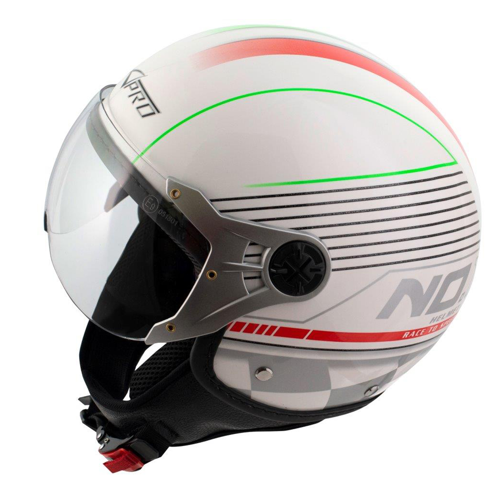 Scooter-Casque-Moto-Ville-Jet-Anti-Scratch-Avio-Visiere-Rouge