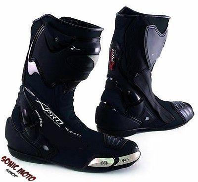 bottes racing cuir vachette zip renforts chaussures moto motard piste no sidi ebay. Black Bedroom Furniture Sets. Home Design Ideas