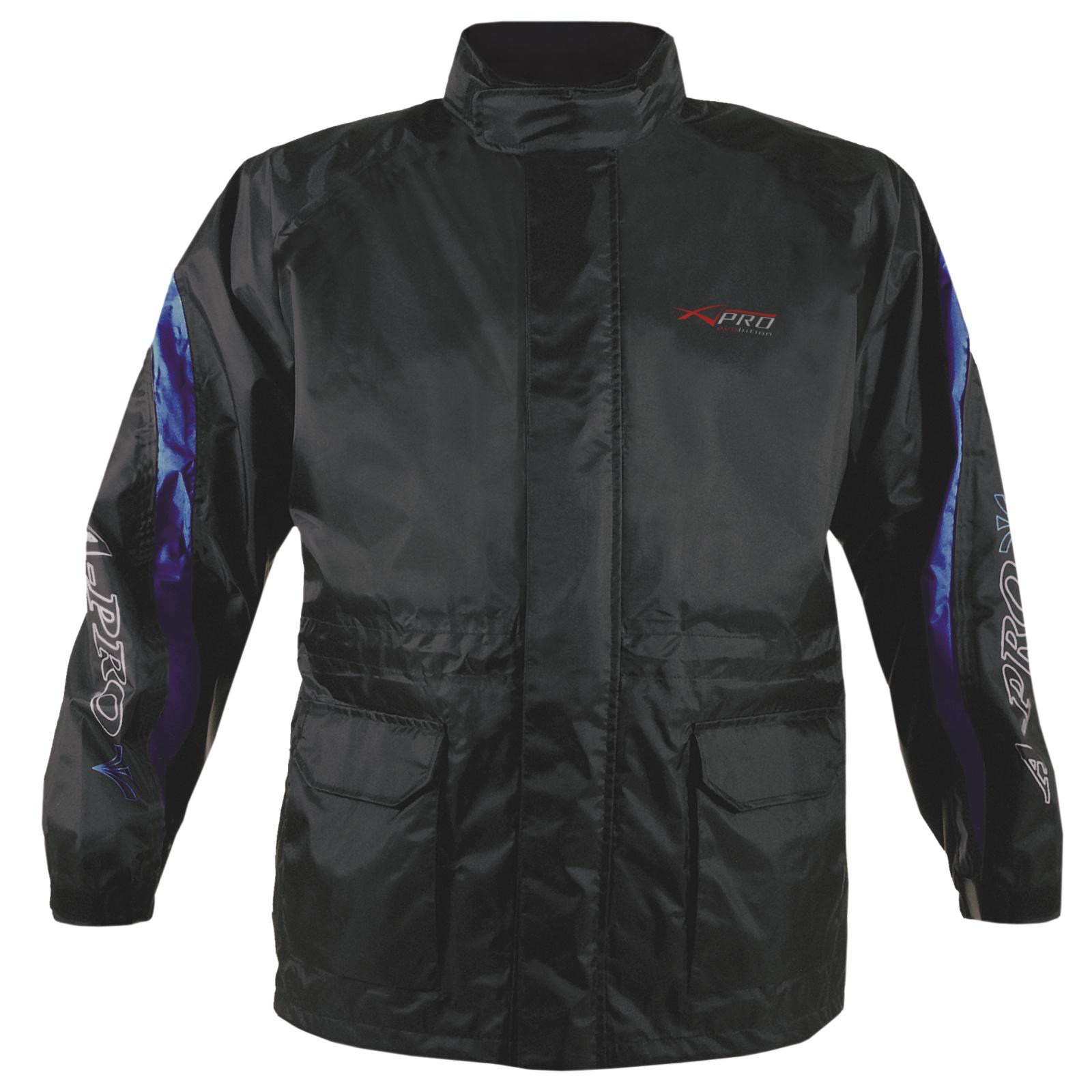Veste-Pluie-Nylon-100-Etanche-Capuche-Reflechissant-Moto-Motard-Sport-Scooter