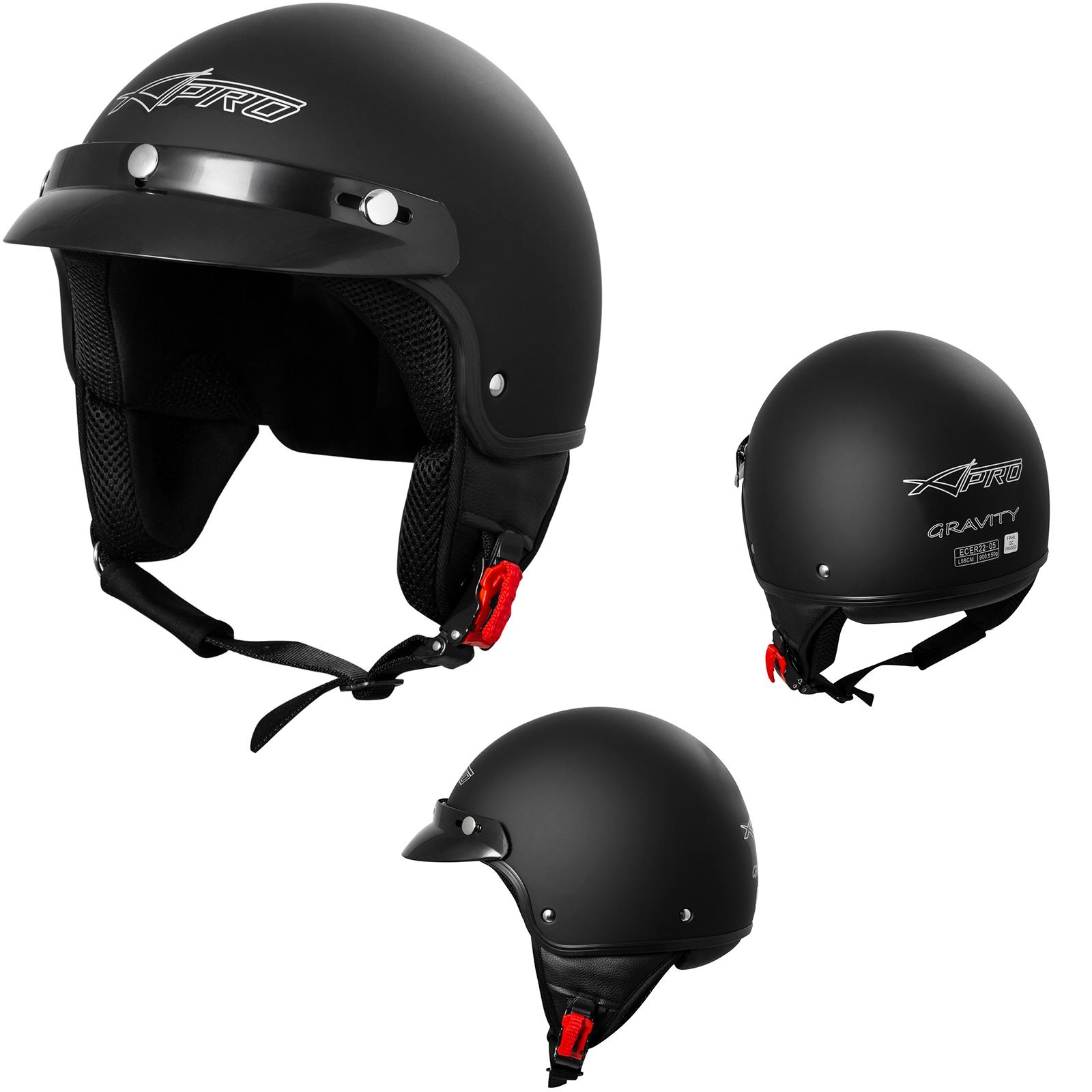Open Face Jet Helmet Moped Motorbike Scooter Antiscratch Visor Matt Black 2XL
