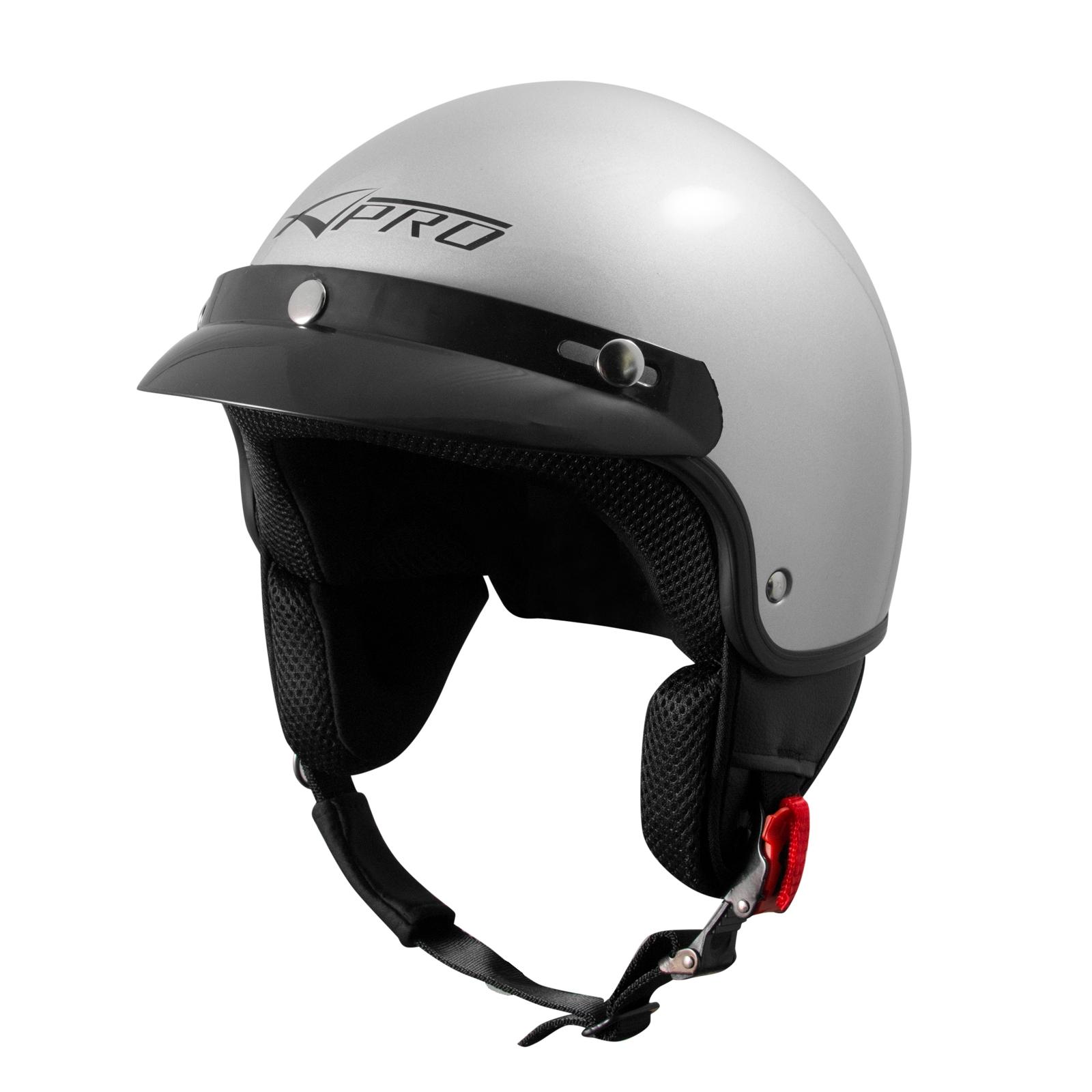 Open Face Demi Jet Helmet Peak Motorbike Scooter Visor SonicMoto Black