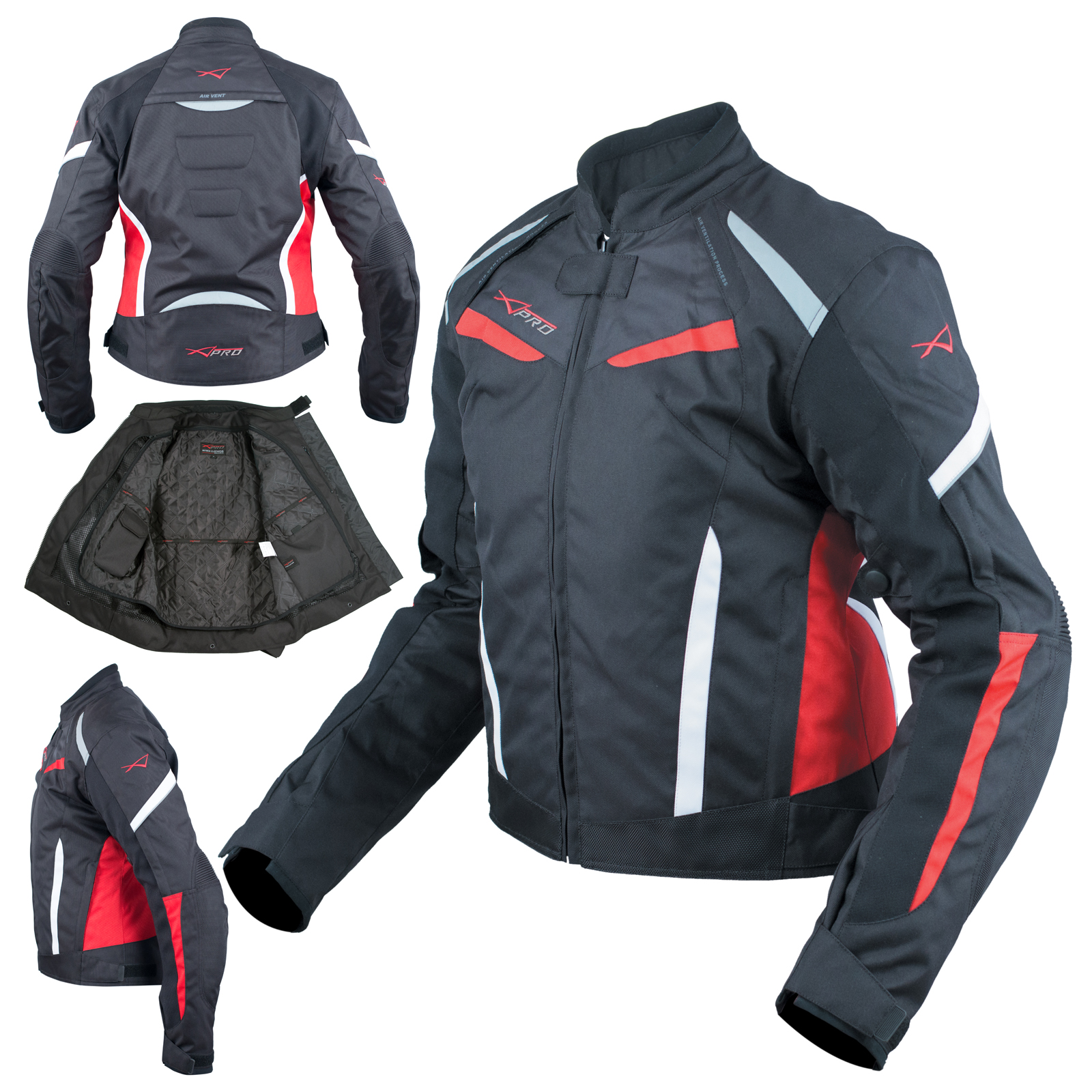 Moto-Giacca-Donna-Sport-Impermeabile-Tessuto-Riflettente-Rosso